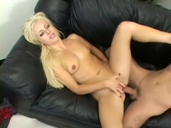 Slim blonde Angela Stone spreads her sexy legs to enjoy a deep fucking