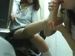 Schoolgirl Getting Her Neck Licked Toes Sucked By A Woman While Learing In The Roo