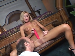 McKenzie Miles Plays With Her Pussy For An Older Man