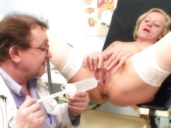 Lovely Blonde Granny, Sara V Is Often Visiting Her Gynecologist, Because He Always Makes Her Cum