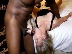 Silky smooth blonde and big black dong