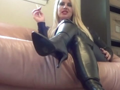 Sexy mistress smoking Leather