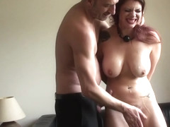 Busty redhead sub clamped and facefucked by her maledom