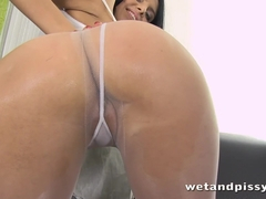 Slutty girl Kira in a see-through pantyhose