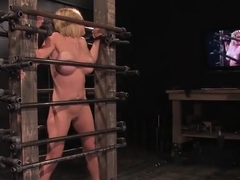 Good-looking Krissy Lynn performing in BDSM action