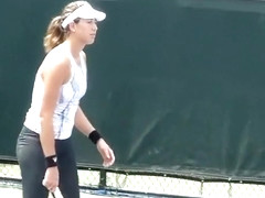 Tennis player wearing spandex pants