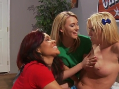An amazing all girls orgy in bedroom starring Ruby Knox and Victoria White