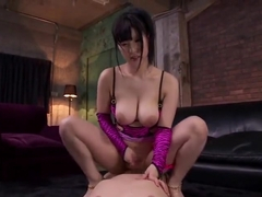 Comely buxomy Japanese mom Mizuki Akai featuring hot sex action ending with cumshot