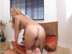 Blonde cutie Sarah Jackson plays with dick