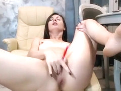 Skinny Brunette Alexis Tyler Toys Her Twat On The Couch On Cam