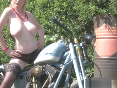 Her boyfriend's bike made her very horny