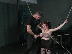 Redhead with tied up big tits bondage vibrator