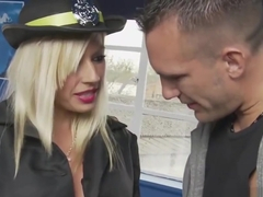 Busty blonde officer lets him fuck his way out of a ticket