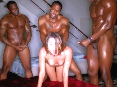 White chick with small tits, Adria Rae got spit- roasted during an interracial threesome and enjoy.