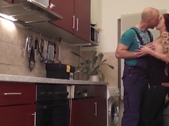 German Amateur get hard anal fucked by repairman