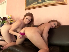 Sultry babe with a hot ass Ginger Blaze embarks on a lesbian adventure