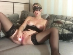 Amateur girlfriend edging masturbation and orgasm in corset and stockings
