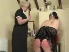 Maid wedgie strapped for not doing her job properly