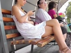 Upskirt White Dress Sexy Tight Thong