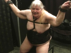 Granny for a first time tied on sybian have multiple orgasme