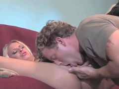A blond horny chippie in sexy panties is so fucked up