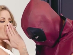 Blonde agreed to have sex with a stranger in the latex suit...