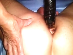 Huge black dildo in my kinky husband's thight anal hole