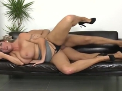 Awesome dusky Laura Orsolya received a facial cumshot