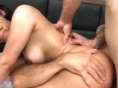 Sweaty shemale gets double penetrated and full of cum