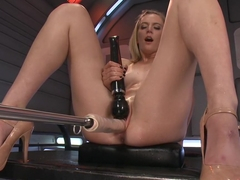 Exotic fetish, squirting adult video with crazy pornstars Mona Wales and Roxy Rox from Fuckingmachines