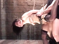 Gabriella Paltrova in stockings whipped