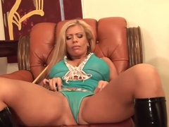 Busty MILF Veronica Gold game of billiards and masturbate by stick