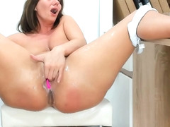 Milf plays and squirts from her real creamy pussy