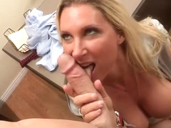 Gorgeous yellow-haired MILF Devon Lee is getting fucked deep in her asshole