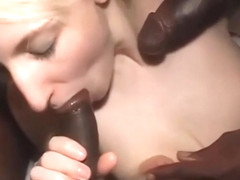 Pale blonde cuckold wife takes two blacks