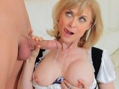 Nina Hartley Dusts Off His Cock With Her Pussy