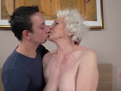 Busty old lady facialized