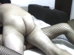 Blonde milf in fishnet stockings gets fucked until she begs