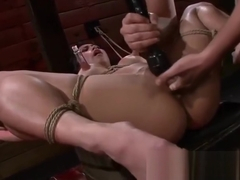 Mia is fucked by sex machine after deepthroating big dick