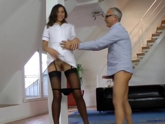 Teen nurse doggystyled by lucky grandpa