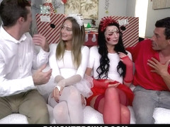 DAUGHTERSWAP - TEEN SEDUCE AND FUCK DADS INTO HOLIDAY SPIRIT