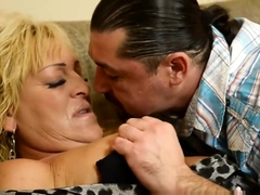 Glam granny rides cock after making out