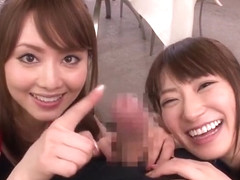 Threesome porn video featuring Saki Kouzai and Akiho Yoshizawa