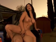 Beauteous breasty latin Sophia Lomeli gives a classy blowjob