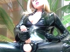 walking in pvc catsuit