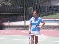 Teen chick works out playing tennis and sucking cock