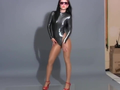 Shiny Silver Thong Leotard