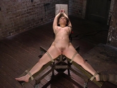 Slave Tied Up On Wooden Ladder Got Anal