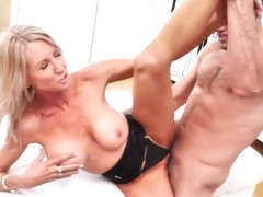 Experienced blonde woman, Emma Starr is having casual sex with her sons best friend and loving it